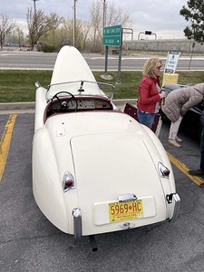 A rear view of the Morrison XK120 OTS giving a hint of the very stylish two tone upholstery.