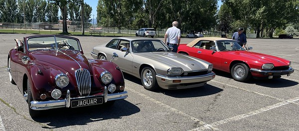 At the destination picnic stop in Logan after a pleasant run up US 89 / Sardine Canyon from Brigham City to Logan.  Left to right the Lindstrom XK140, Jennings XJS, and Call XJS.