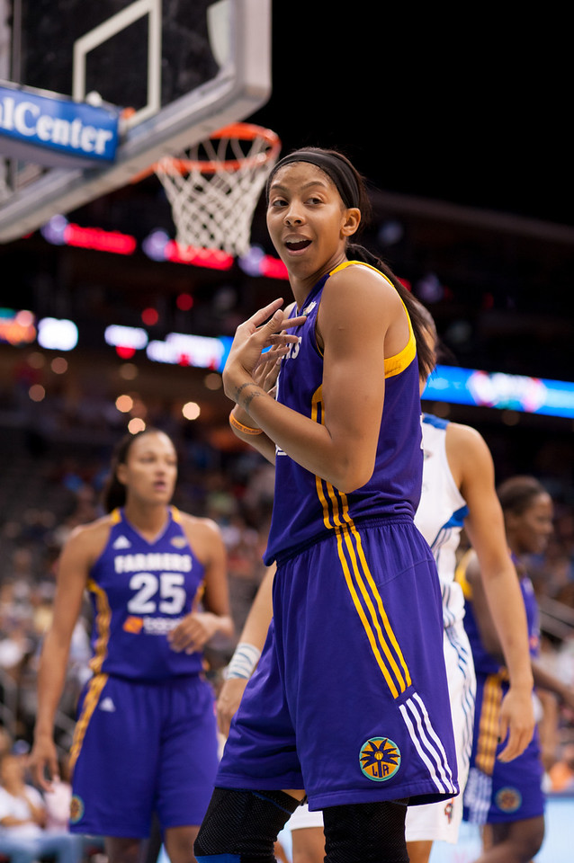 Los Angeles' CANDACE PARKER protests a call from a referee in a game against the New York Liberty.
