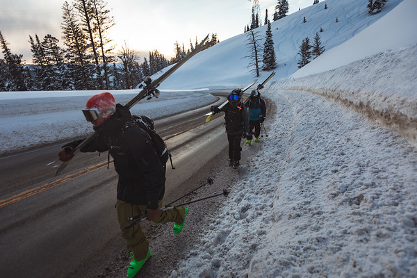 Matt Sterbenz, Dan, and Joey Weamer hiking back to the cars after an evening lap on Mt. Glory. Checkerspot Road Trip.