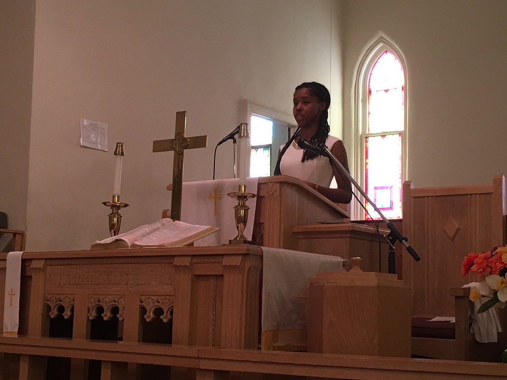". Richard Payerchin - The Morning Journal <br> LaCoya Head, 18, of Lorain, speaks at the Wesley United Methodist Church Annual Women\'s Day Program on July 16, 2017, at the church, 220 W. Seventh St., Lorain. Head was one of three keynote speakers addressing the theme: ""The Leadership & Vision of Women, Past, Present & Future.\"""