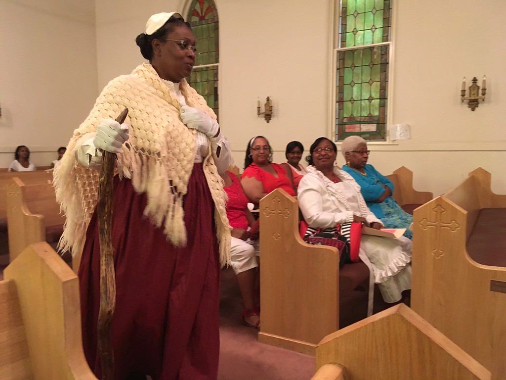 ". Richard Payerchin - The Morning Journal <br> Inez James portrays abolitionist Sojourner Truth as she speaks at the Wesley United Methodist Church Annual Women\'s Day Program on July 16, 2017, at the church, 220 W. Seventh St., Lorain. James was one of three keynote speakers addressing the theme: ""The Leadership & Vision of Women, Past, Present & Future.\"""