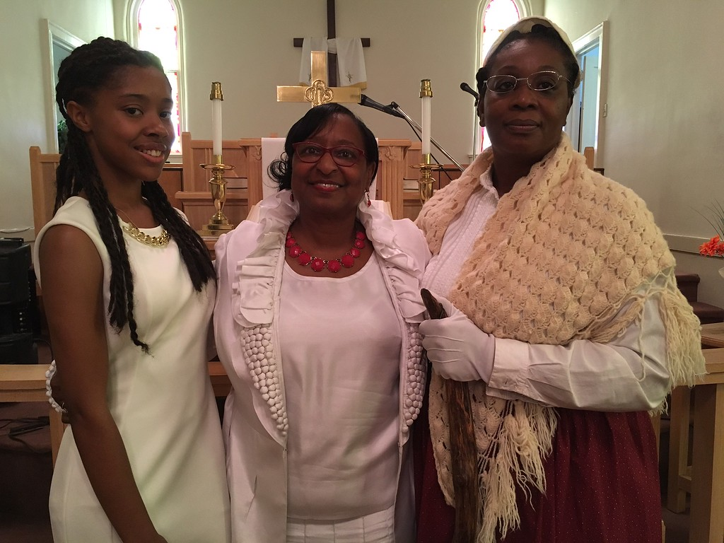 ". Richard Payerchin - The Morning Journal <br> Keynote speakers LaCoya Head, Glenda Jones and Inez James, portraying Sojourner Truth, stand together for a photo at the Wesley United Methodist Church Annual Women\'s Day Program on July 16, 2017, at the church, 220 W. Seventh St., Lorain. They were three keynote speakers addressing the theme: ""The Leadership & Vision of Women, Past, Present & Future.\"""