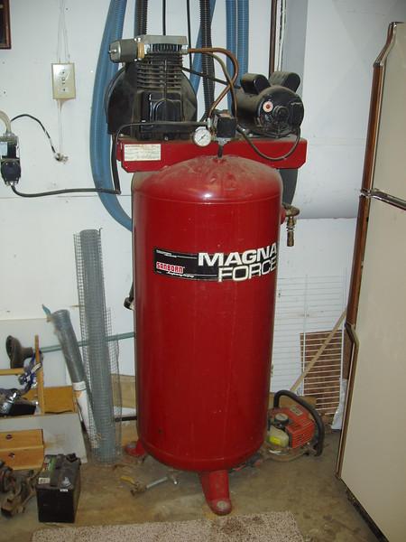 "A more or less ""brand X"" Sanborn air compressor."