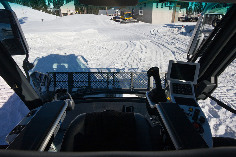 The view from the captain's chair in a center-cab Beast.<br /> <br /> Location: Behind the vehicle shop, Mt. Hood Meadows ski area, Oregon<br /> <br /> Lens used: 10-22mm f3.5-4.5