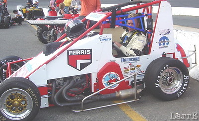Tracy Hines is from New Castle Indiana and drives the Leader Cards midget