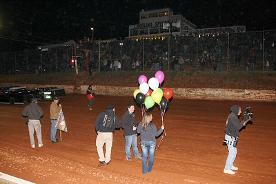 purple ballons were given to all the kids in the stand.At a signal all ballons were let free..as messages to heaven for Skyler and her grandmother Pat, who passed away this week.