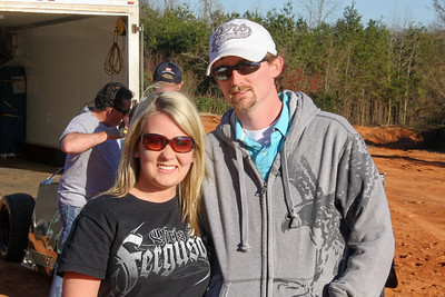 Madison Mabry and Jason Bradshaw take pictures at the tracks around here