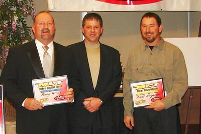 """RICKY WEEKS and SCOTT NEIGHBORS receive the """"Mikes Custom Tanks"""" award from STEVE HENDREN"""