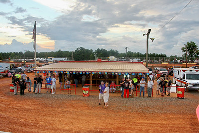 the infield food stand is a gathering spot...shade , place to rest and eat.