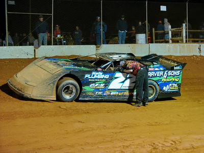 Officials pulled Chris Ferguson off the track with a flat tire. He returned in the back of the pack...and still won!
