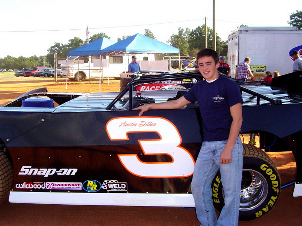 Young Austin Dillon with his first attempt at a V-8...and dirt!