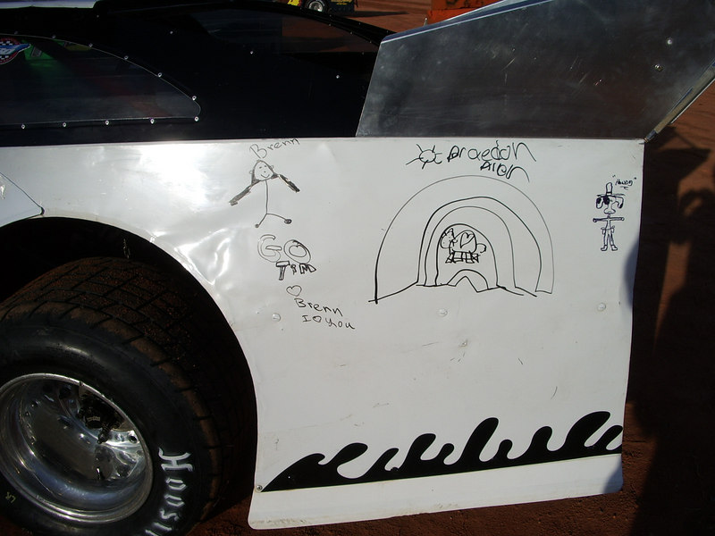 """The #17 Late Model of Tim Allen(tonights winner)lets kids put their names on his car. So come to the races add your name and watch """"your"""" car win."""