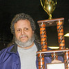 Gary Puckett hold his 2nd place trophy for GM Performance late models (crate motor class)