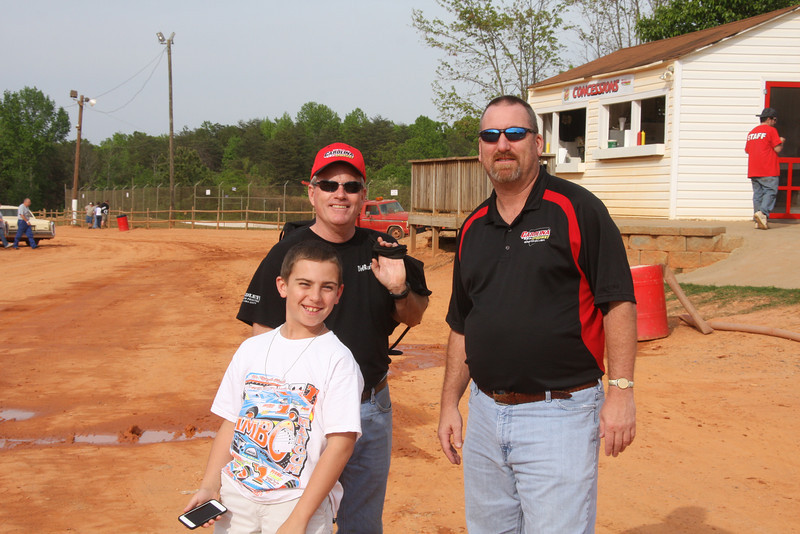 "the owner of Carolina Speedway, Mark Gibbons with the track announcer Mark Abernethy and Marks assistant..""Little A"""