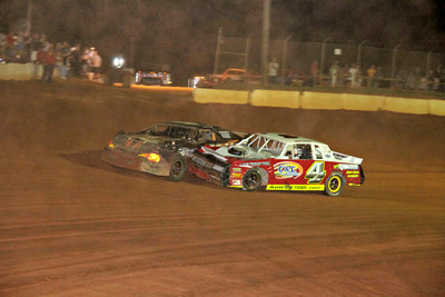 Brandon Dockery and Justin Norwood had a difference of opinion at the end of the street stock race.