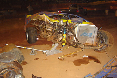 repairs begin on Bruce Halls wrecked racer