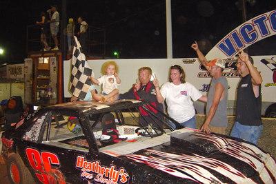Super Stock 4 feature winner # 96 Stacy Brock