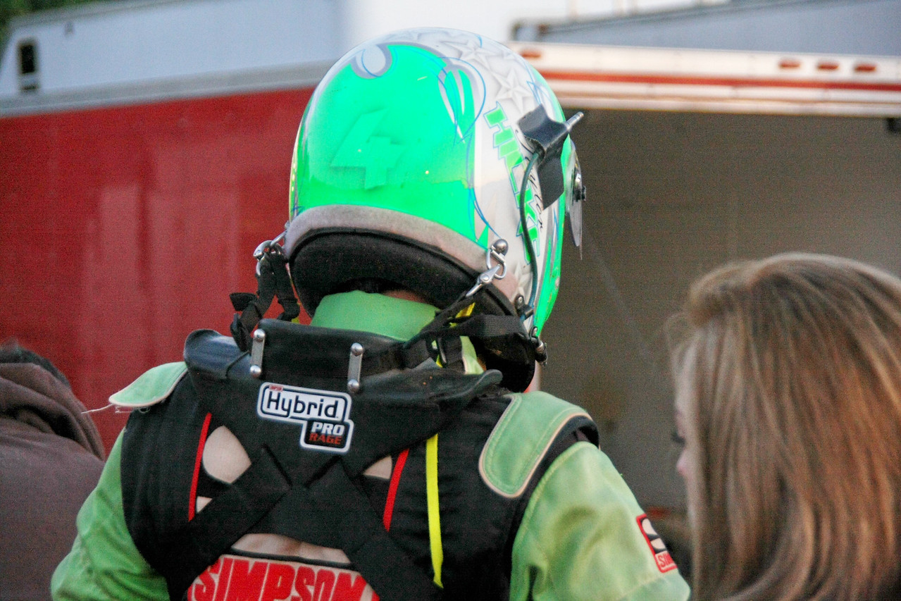 """what a """"Hans device"""" looks like. The shoulder belts hold down the harness and the helmet is strapped to the harness"""