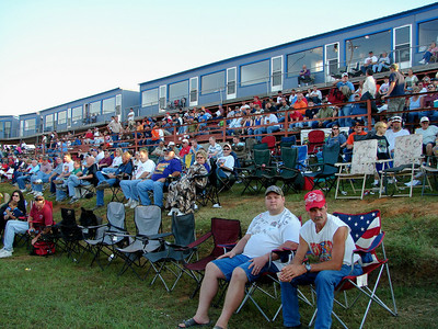 As you get closer to turn one the open area in front of the stands gets wider making more room for folding chairs.