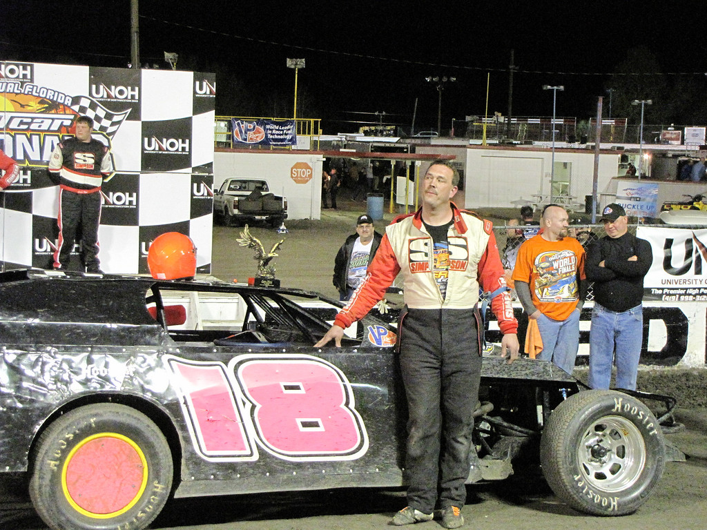 a happy David McWilliams wins the UMP feature at Volusia