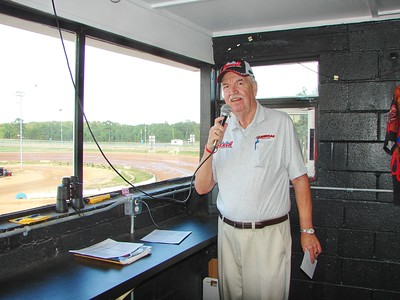 Larry Long is the announcer at Fayetteville Speedway