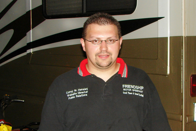 the announcer at Friendship Speedway Corey Hensley