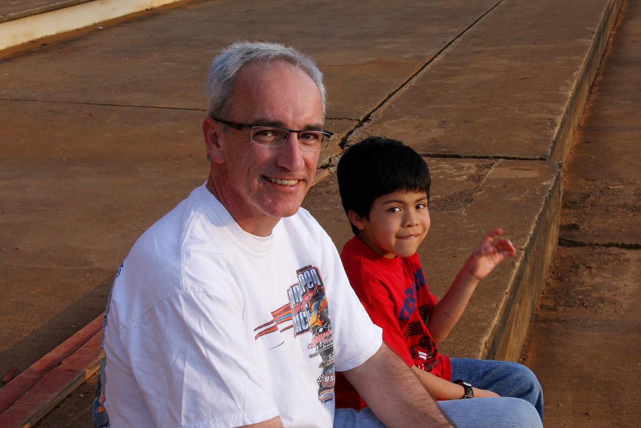 Famous race announcer Lenny Batycki and son enjoy an evening at the races