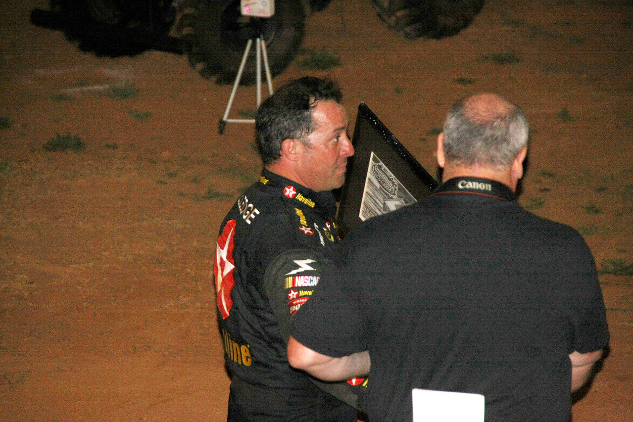 Jimmy Elledge...NASCAR crew chief for Justin Allgaier... receives his award for 2011 Track Champion