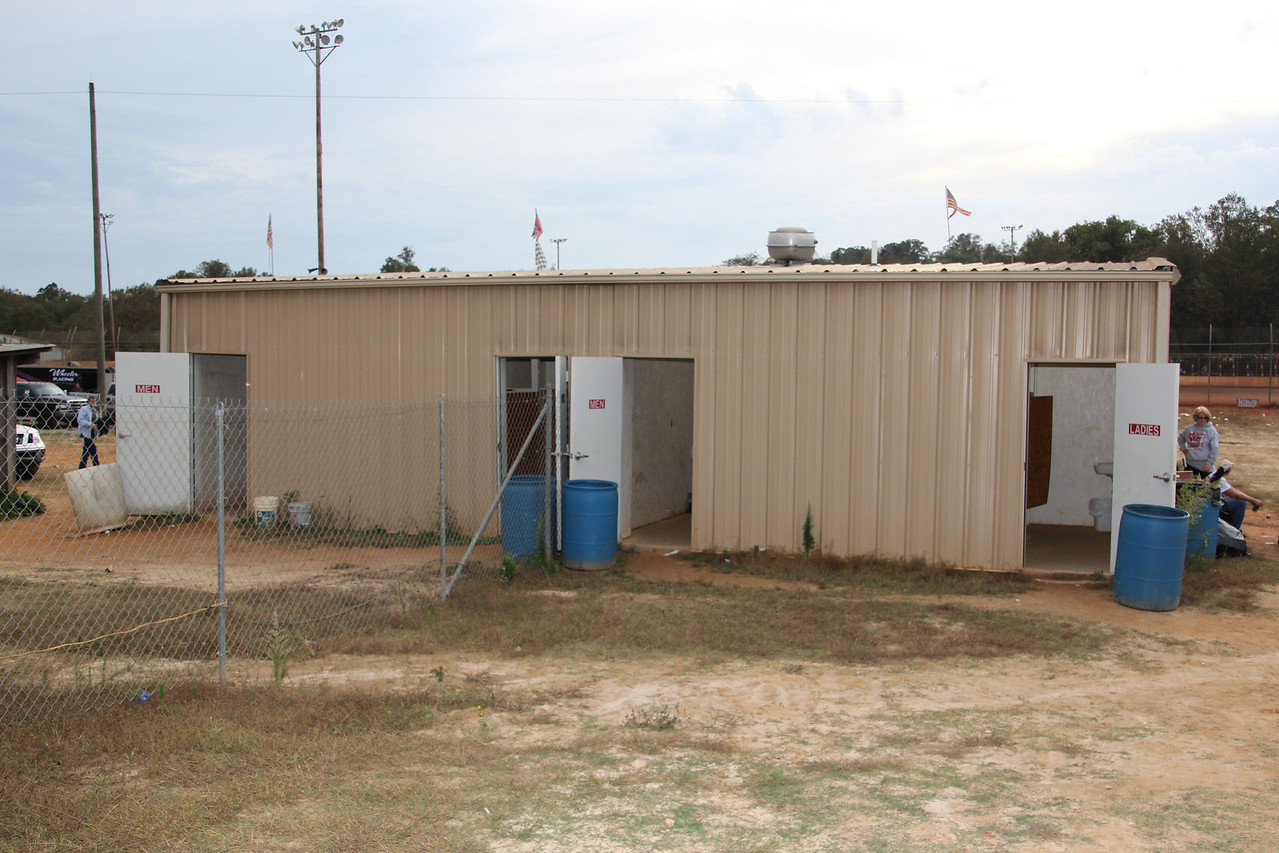 restrooms are shared between the pits and the parking lot.