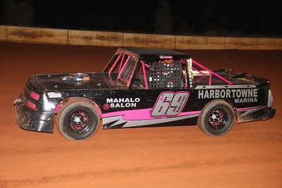 """Schoen Christman looks good in the #69 """"Save the Tatas"""" pick up truck...but it won't last long..."""