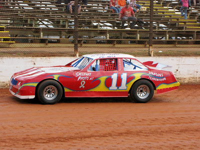 """Pebo"" Johnson in the Speedway Photo car"