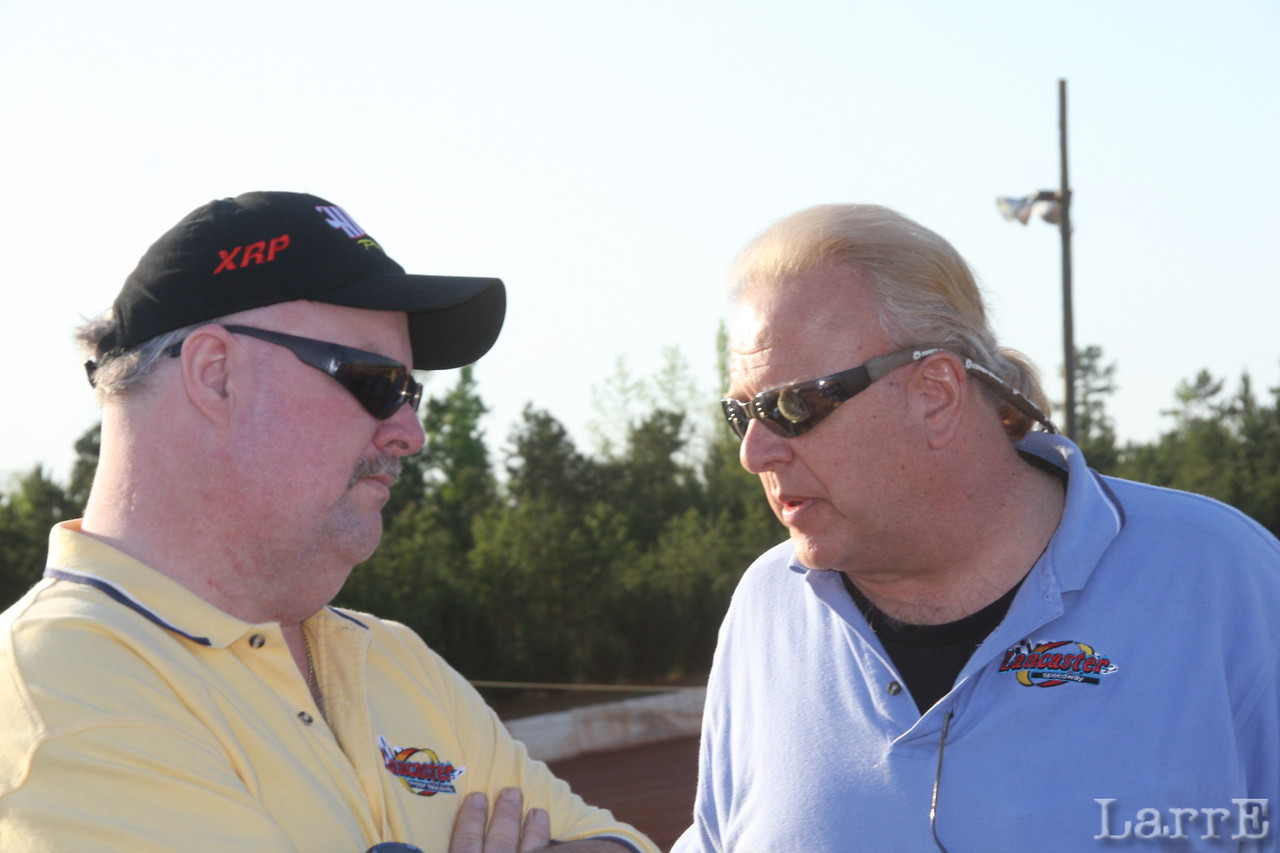 Bruce Arants, race director at Lancaste,r and Big Greg