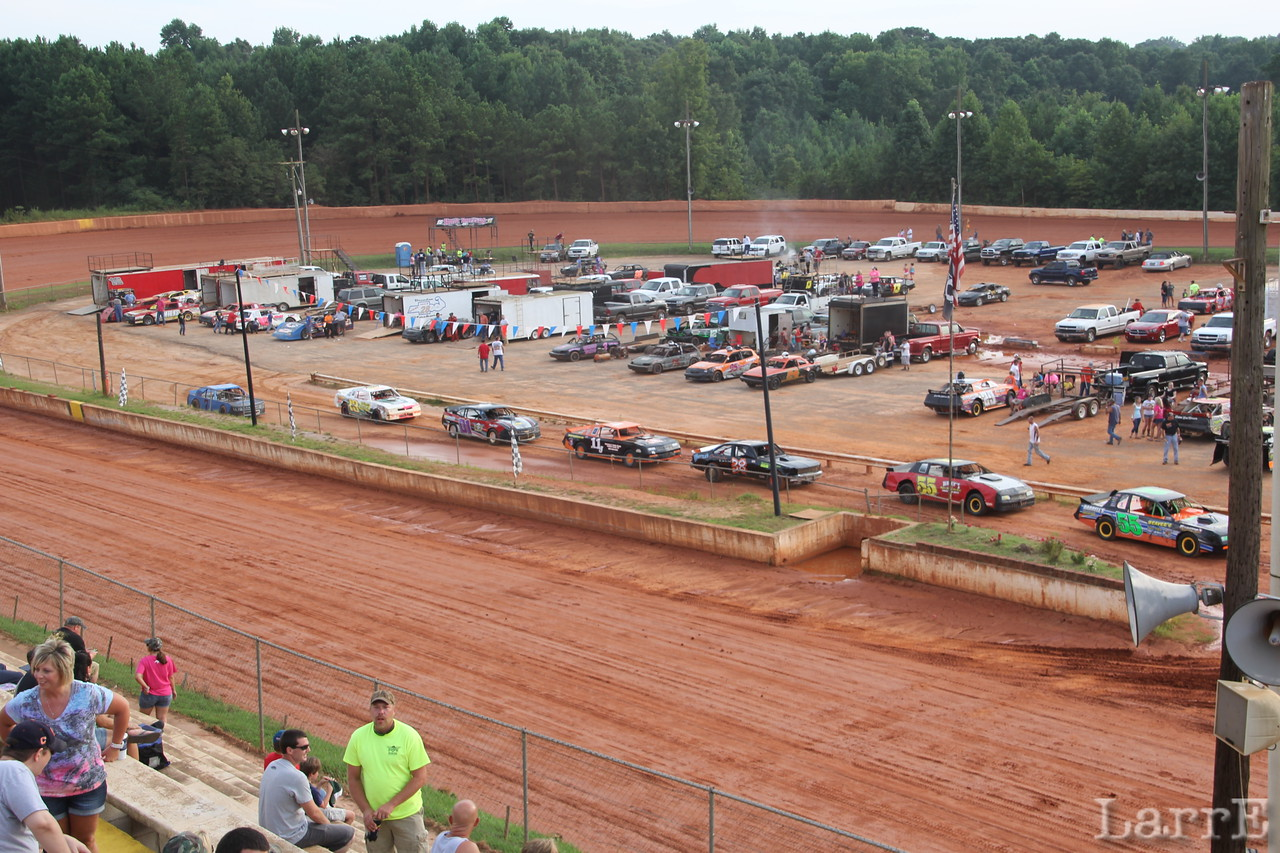 cars line up for their hot laps.