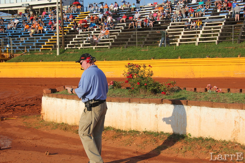 race director Bruce is working the pits during hot laps
