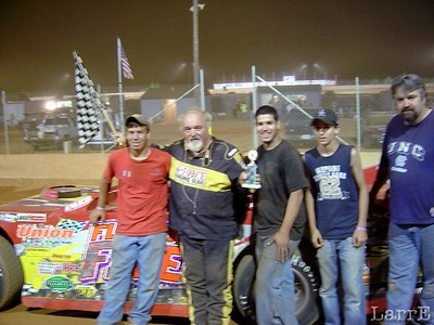 Mike won with the sourest sounding motor that ever won a race.