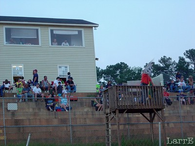 The scoring tower and flag stand