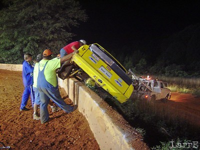 They pulled it over the wall and down the embankment and didn't roll it.