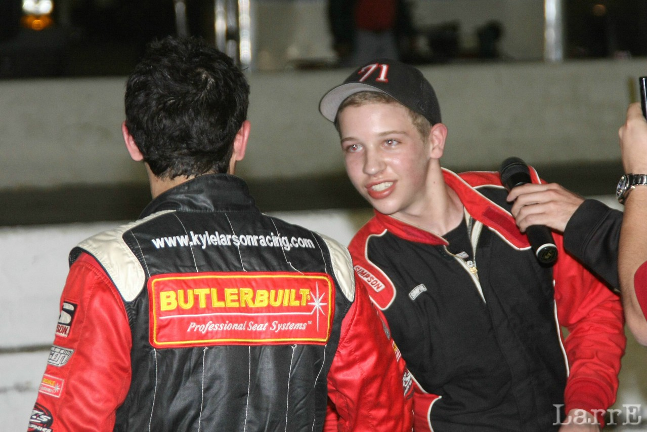 Kyle Larson (back to camera) Came by to congratulate winner Kyle Benjamin