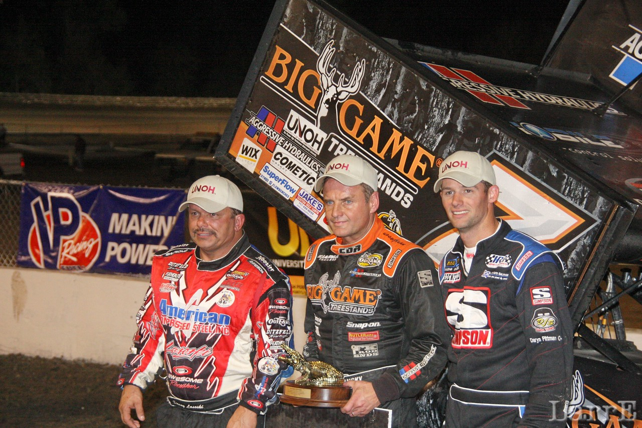 All Star spint car top three ..Lasoski second place , winner Dollansky and third place Daryn Pittman