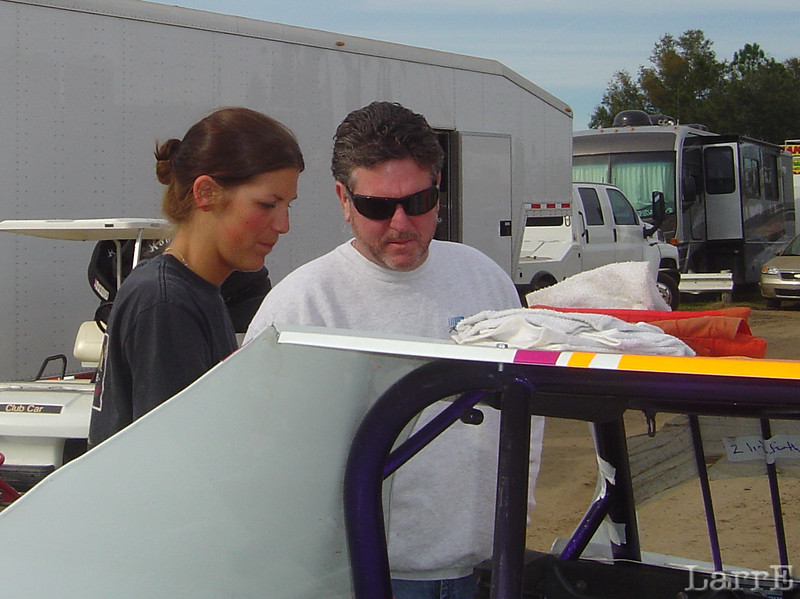 Jullie McDermid and Randy Lajoie. Randy make race car seat and he said he came over to check out Julie's seat.