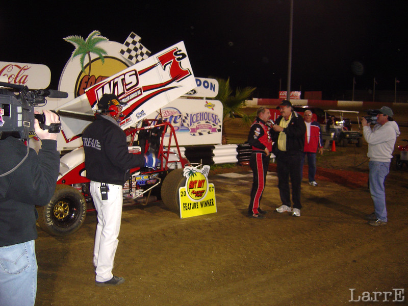 Jason Sides is interviewed after winning the 410 sprint race At East Bay January 30, 2007