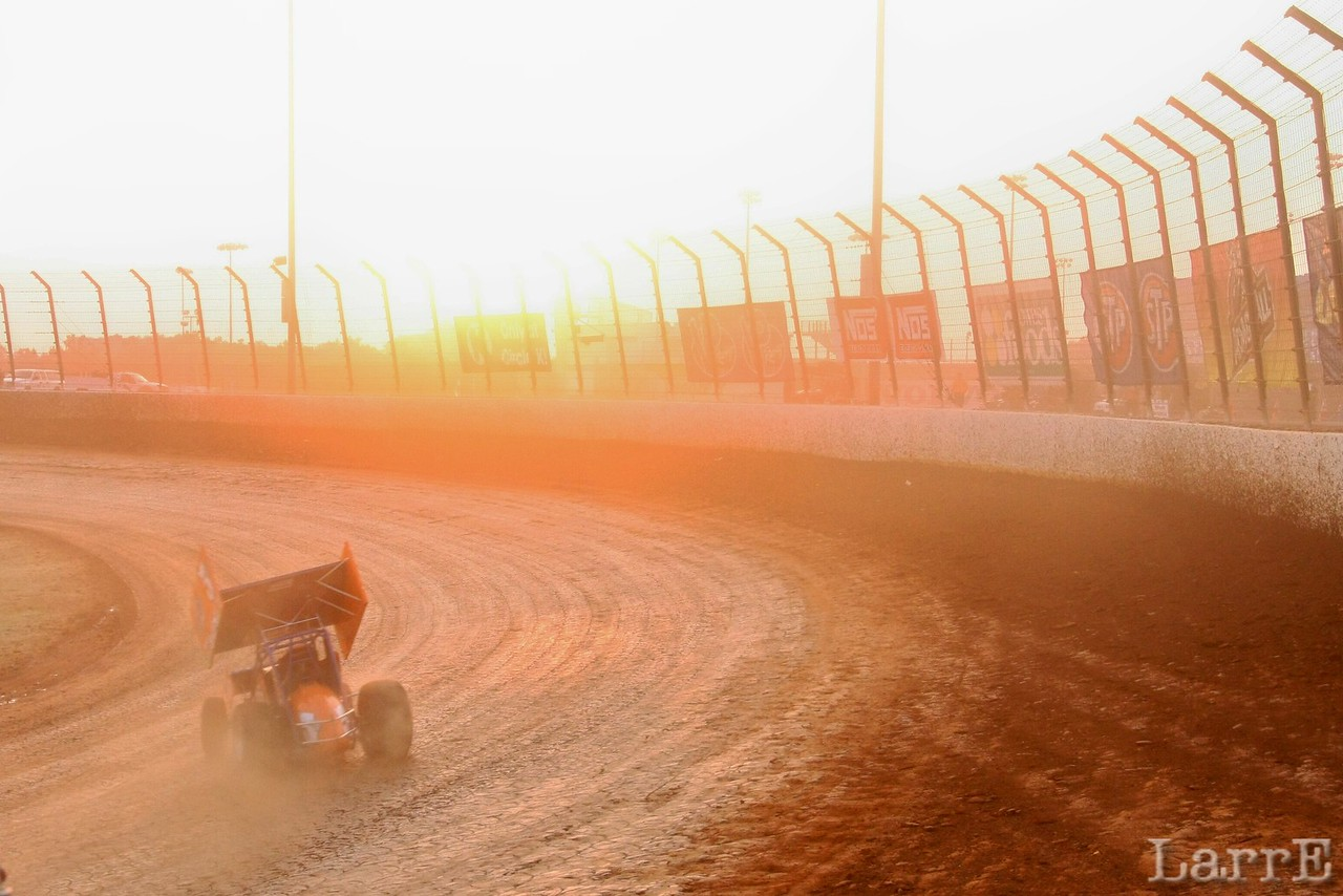setting sun was tough on the drivers...and fans