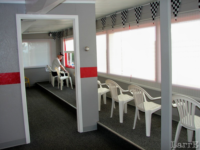 Larry Long enjoys the indoor seating area