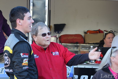 Pete Walton (Mr USCS) tells Trey Starkes to shut down his engine during drivers meeting.