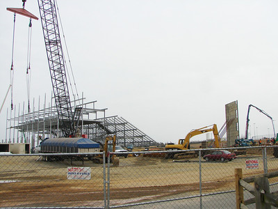 The new grandstand goes up.