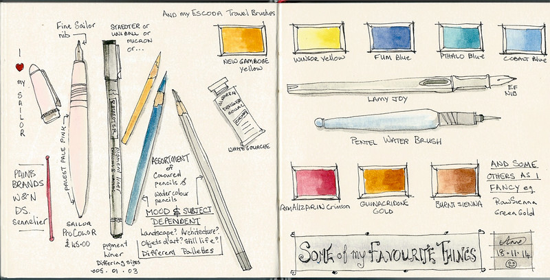 Art Materials. Exercise for Liz Steel's Sketching Now course