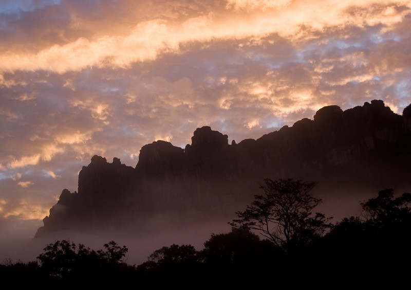 Sunrise from near the base of Angel Falls.