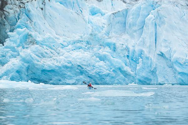 In front of Nigertulup  Kagtilersarpia Arqorseq glacier. Nigertuluk fjord, east Greenland.