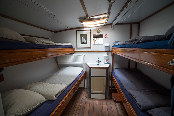 A cabin for four. Onboard sailboat Arktika.